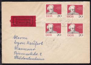 HANNOVER-HAMBURG BAHNPOST ZUG 00076 25.11.62 rs auf Eilbrief ab Schwerin
