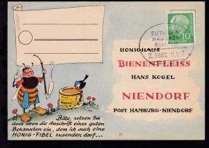 EUTINGEN HAUSACH BAHNPOST Z. 3882 11.8.57 auf Firmenantwort-Postkarte