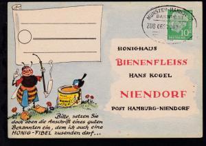 MÜNSTER-HANNOVER BAHNPOST ? ZUG 0621 29.1.57 auf Firmenantwort-Postkarte