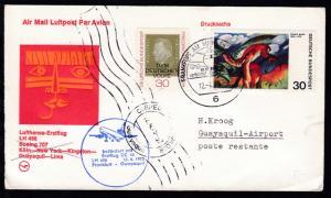 Lufthansa Erstflug-Brief Frankfurt-Guayaquil 12.4.1975