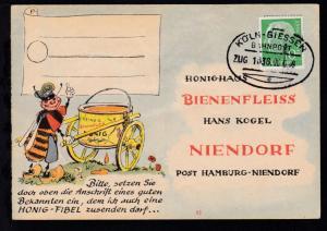 KÖLN-GIESSEN BAHNPOST e  ZUG 1636 06.6.58 auf Firmenantwort-Postkarte