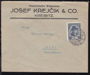 Masaryk 85. Geburtstag 2 Kc. auf Firmenbrief (Josef Krejcik & Co., Kreibitz)