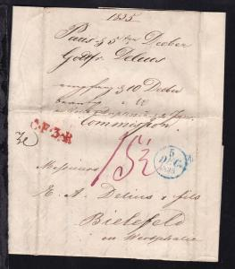 blauer Fingerhut-K1 5 DEC 1835 + roter L1 C.F.3.R. auf Brief ab Paris