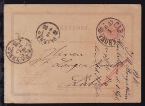 Drei Kronen 10 Öre ab Carlskrona 1.9.1880 nach Lübeck