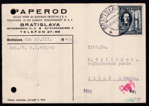 10. Todestag von Jozef Murgas 1,20 Ks auf Firmenpostkarte (Paperod, Bratislava)