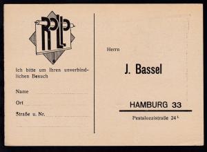 Hamburg Firmenantwort-Postkarte der Firma J. Bassel Hamburg