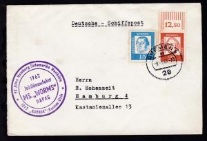 OSt. Bremen 9.1.63 + Cachet Jubiläumsfahrt MS Worms auf Brief