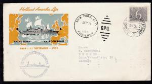 POSTAGENT a/b SS ROTTERDAM 9 31.X.59 + Cachet Erste Reise auf Sonderumschlag