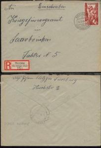 20 Fr. auf R-Bf. ab Siersburg über Dillingen 14.9.48 nach Saarbrücken