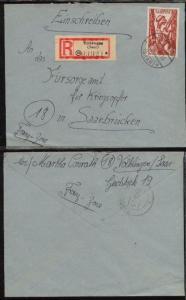 20 Fr. auf R-Bf. ab Völklingen 10.5.48 nach Saarbrücken