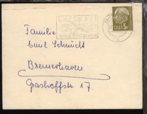 Heuss 5 Fr. auf Bf. ab Saarbrücken 22.12.57 nach Bremerhaven