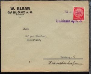 viol. L1 Gablonz a/N. 3 + Datum-L1 13.XII.1938 auf Firmen-Bf.