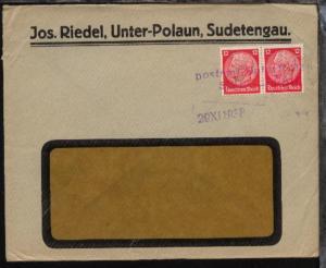 viol. L2 postamt Unter Polaun SUDETENGAU + Datum-L1 29.XII.1938