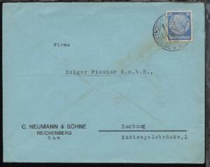 OSt. REICHENBERG 3 4b 26.X.38 auf Firmen-Bf. (C. Neumann & Söhne, Reichenberg)