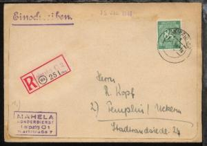 Ziffer 84 Pfg. auf R-Bf. des Mahela-Sonderdienst Leipzig ab Leipzig 13.1.48