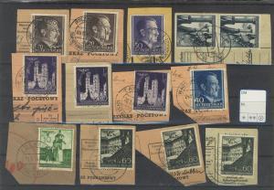 Steckkarte mit 13 Marken auf Postanweisungs-Abschnitten
