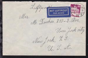 Bauten 80 Pfg. auf Luftpostbrief ab Hamburg 20.9.49 nach New York/USA,