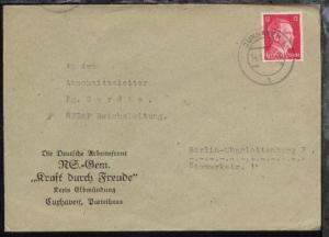Cuxhaven OSt. CUXHAVEN 1 l 14.1.43 auf Bf. mit Abs.-Druck