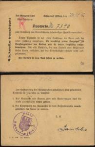 Schönebeck 1945 Ausweis zum Empfang von Unterstützung