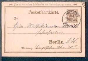 Berlin Packetfahrtkarte 2 Pfg. mit Stpl. PACKET-FAHRT B 4 31.OKT 89