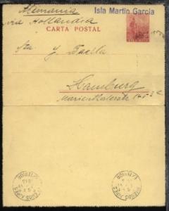 L1 Isla Martin Garcia + rs Transit-Stpl. Buenos Aires 13.VI.1915 auf argent. Kte