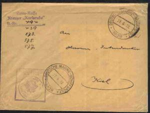 MSP 28 27.6.32 Kreuzer Karlsruhe + L3 Amtskasse + BfSt. auf Dienst-Bf. von der 2