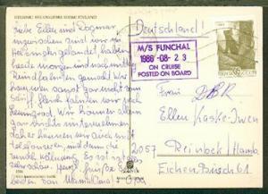 Bord-Stpl. MS FUNCHAL 23.08.1986 auf Bedarfs-CAK ab Tallinn 03.09.86 nach Reinbe