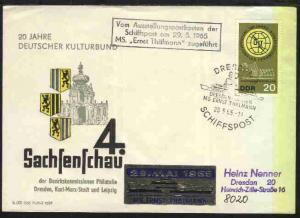 DRESDEN SCHIFFSPOST Dresden-Rathen MS Ernst Thälmann 29.5.65 + R3 Vom Ausstellun