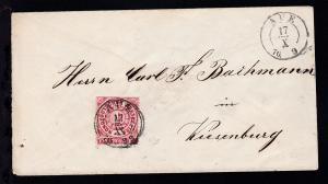 Ziffer 1 Gr. auf Brief mit K2 AUE 17 X 70 nach Wiesenburg,  Marke obere Zähnung