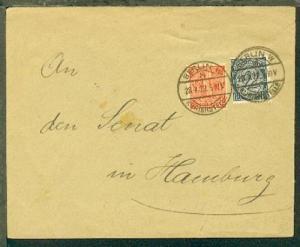 BERLIN W 8 KURIERSTELLE 28.7.22 auf Bf. an den Senat in Hamburg, rs. Dienst-Stpl