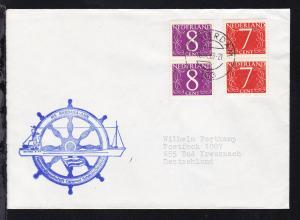 OSt. Amsterdam 16.9.69 + Neben-Stpl. MS BARBARA ANN auf Brief