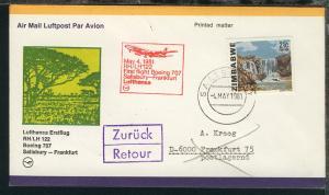 Lufthansa Erstflugbrief Salisbury-Frankfurt 4.5.1981