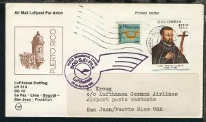 Lufthansa Erstflugbrief Bogota-San Juan 27.4.1981