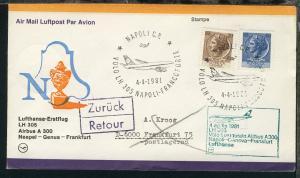 Lufthansa Erstflugbrief Neapel-Frankfurt 4.4.1981