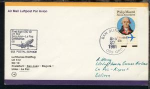 Lufthansa Erstflugbrief San Juan-La Paz 27.4.1981