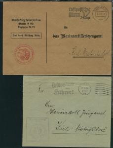 1936 2 Dienst-Bfe ab Berlin bzw. Kiel an das Marine-Arilleriezeugamt