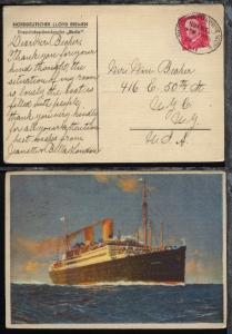DASP BREMEN-NEW YORK 8.11.25 VII auf CAK (Dampfer Berlin) in die USA
