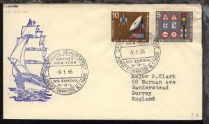 DSP JUNGFERNREISE 9.1.1966 BREMEN NEW YORK MS EUROPA NDL 9.1.66 + Cachet auf Bf.