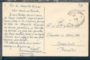 POSTES MILITAIRES BELGIQUE 1 27.VII.24 auf CAK (Aachen) aus Aachen nach Belgien