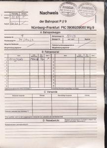NÜRNBERG-FRANKFURT AM MAIN q ZUG 39080 8.5.95 +