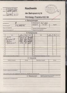 NÜRNBERG-FRANKFURT AM MAIN s ZUG 00050 20.3.96 auf Nachweis-Zettel