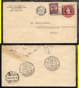 WÜRTT. BAHN-POST 91 ST. 28.VI.26 114 als Transit-Stpl. rs auf Bf. ab New York