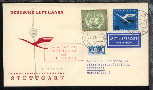 Lufthansa-Erstflug-Bf. Frankfurt-Stuttgart 31.10.1955 0