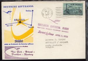 Lufthansa-Erstflug-Bf. New York-Brüssel 5.4.1958