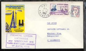 Lufthansa-Erstflug-Bf. Paris-München 1.4.1962