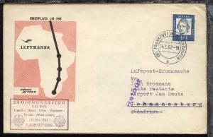 Lufthansa-Erstflug-Bf. Frankfurt-Johannisburg 14.5.1962