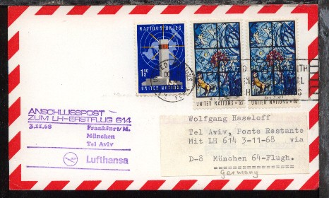 Anschlusspost ab UNO New York OCT 31 1968 zum Lufthansa-Erstflug 0