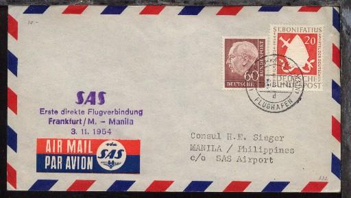 SAS-Erstflug-Bf. Frankfurt-Manila 3.11.1954 0