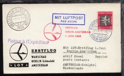 LOT-Erstflug-Bf. Berlin-Amsterdam 1.6.1959 0