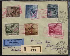 Liechtenstein roter R3 1. Postflug VADUZ-St. GALLEN 31. August 1930 auf R-Bf.